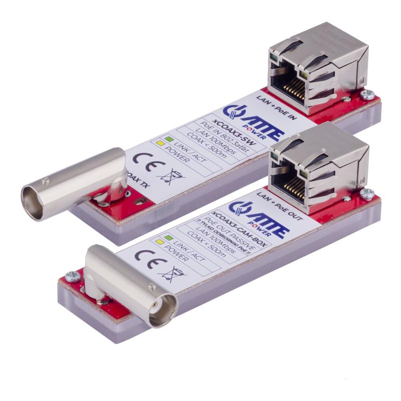 Transmisja Ethernet po koncentryku ATTE XCOAX3-SET-BOX