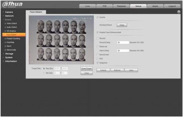 Przykład działania funkcji detekcji twarzy