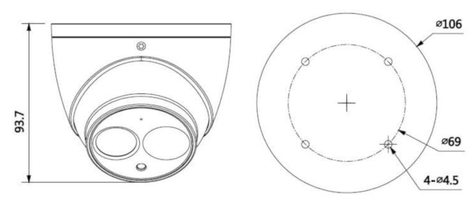Wymiary kamery kopułkowej BCS-DMIP2201AIR-IV