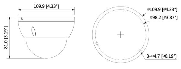 Wymiary kamery kopułkowej BCS-DMIP3601AIR-IV