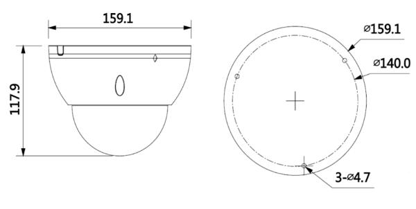 Wymiary kamery kopułkowej BCS-DMIP5801AIR-IV
