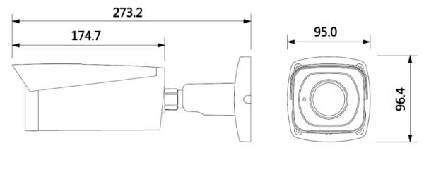 Wymiary kamery tubowej BCS-TIP8801AIR-IV